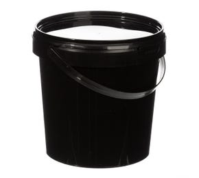 1 Litre Plastic Black Tamper Evident Bucket with Plastic Handle and Lid