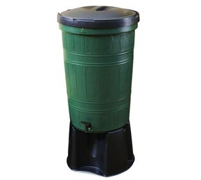 200 Litre Green Recycled Plastic Water Butt Kit with Lid, Rain Diverter & Stand