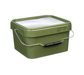 5 Litre Plastic Green Tamper Evident Square Bucket with Plastic Handle and Lid