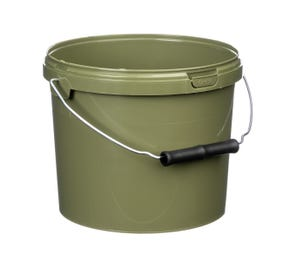 3 Litre Plastic Green Tamper Evident Fishing Bucket With Roller Grip Wire Handle