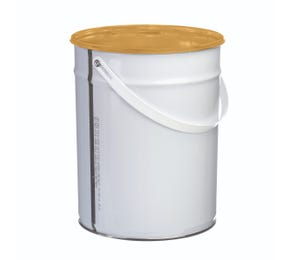 5 Litre White Lacquered Tinplate Pail with Wire Handle
